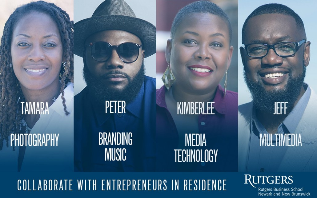 Newark Business Hub graphic featuring the program's four Entrepreneurs-in-Residence. Fellowship applications are open through December 19th.