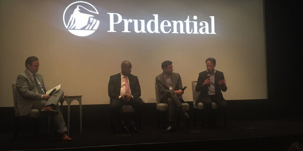 New York Times business reporter David Gelles moderates a panel featuring Newark Mayor Ras Baraka, Prudential's Vice President of Impact Investments Ommeed Sathé, and CEO of RBH Group Ron Beit