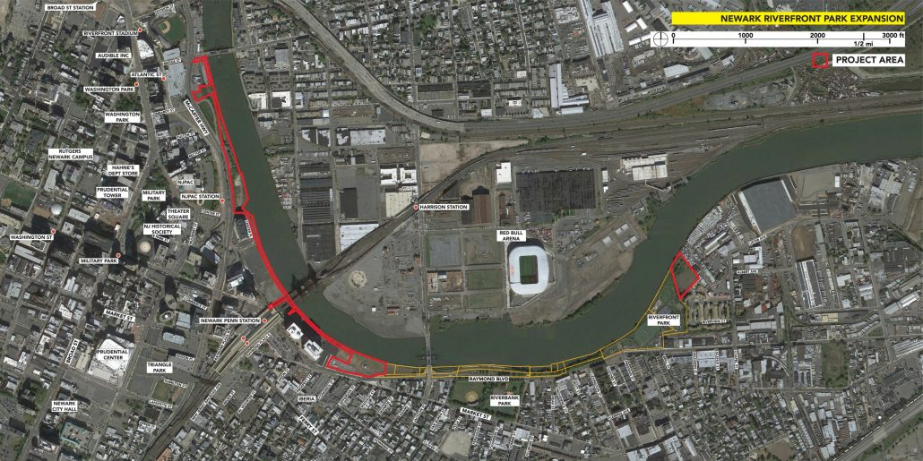 Newark riverfront map. Click or tap to enlarge.