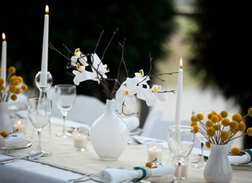 yellow and white table