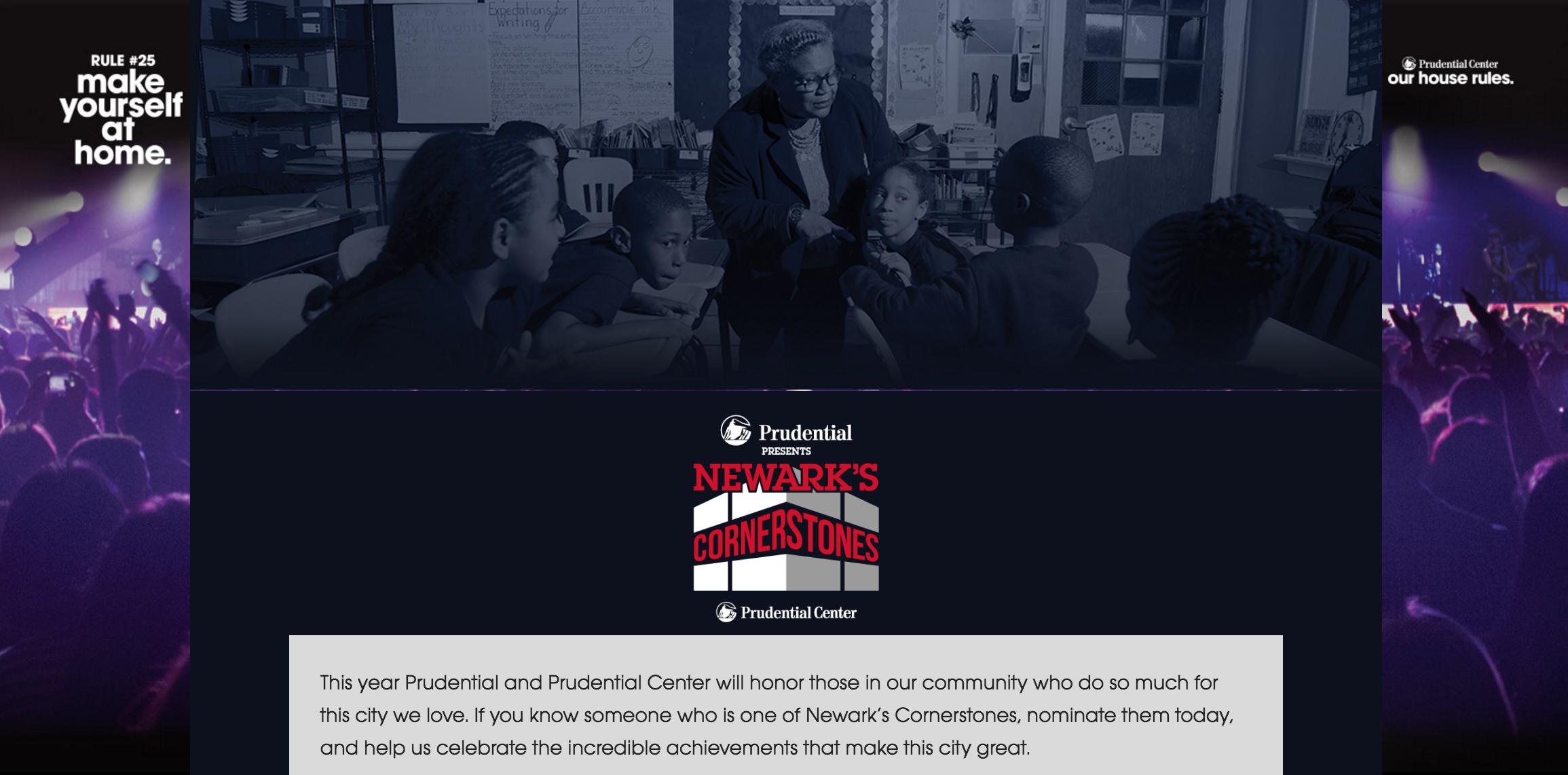 The Newark's Cornerstones nomination page at PruCenter.com/newarkscornerstones.