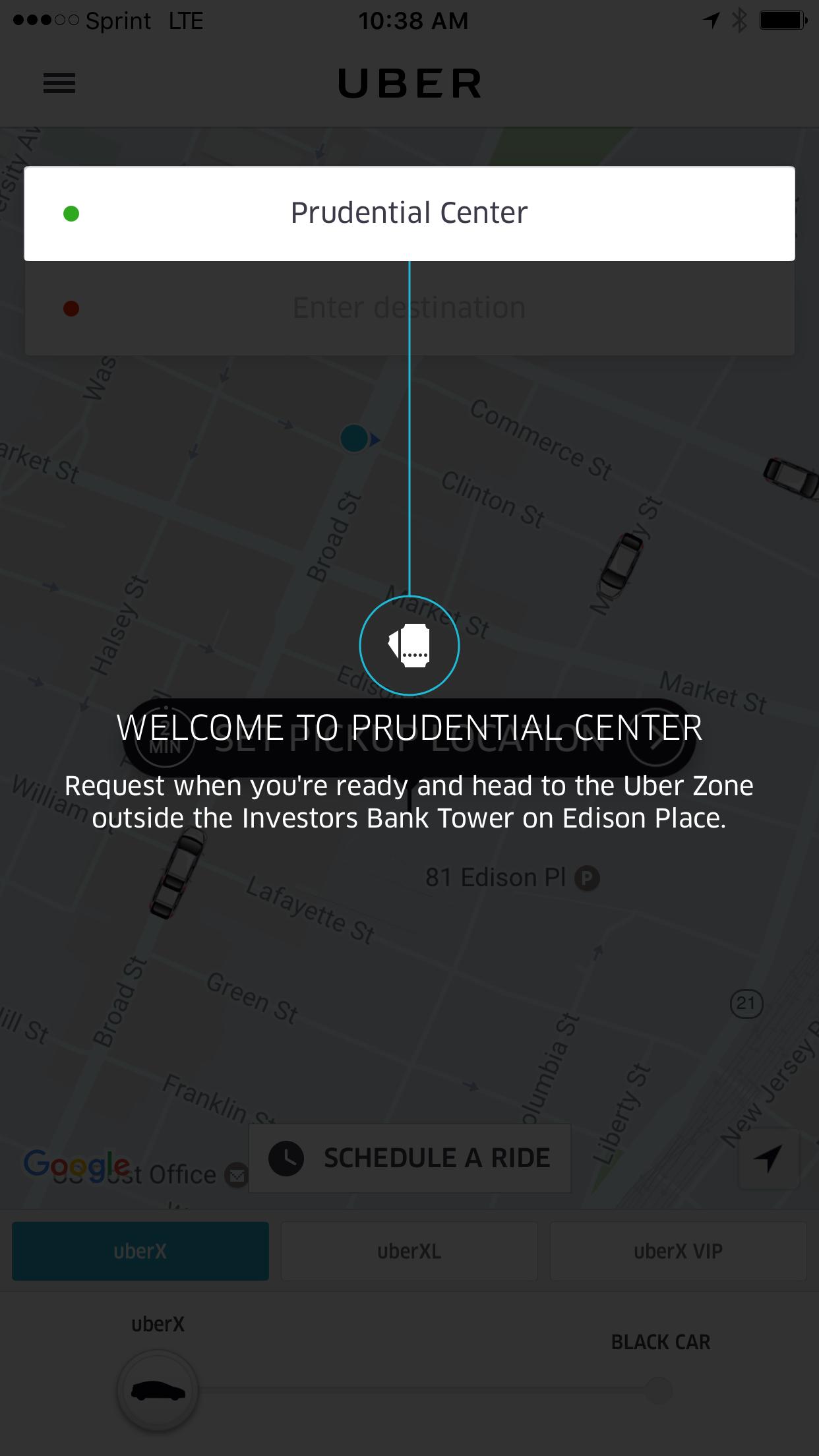 Uber at Pru Screen