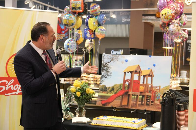 Neil Greenstein, owner and operator of the ShopRite of Newark, talks about the playground ShopRite and Colgate will donate to the Fourteenth Avenue School in Newark. Image courtesy BML Public Relations